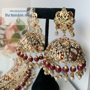 A Beauty In Jumki Jadau Set - Ruby, Necklace Sets - THE KUNDAN SHOP