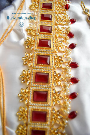 Regality in Ruby Necklace Sets THE KUNDAN SHOP