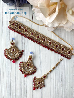 Sparkling in Ruby Necklace Sets THE KUNDAN SHOP