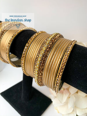 Rhinestone & Satin Gold Bangles, Bangles - THE KUNDAN SHOP