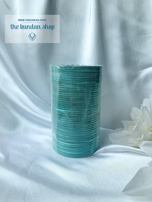 Sheen Bangle Stack - Sea Green, Bangles - THE KUNDAN SHOP