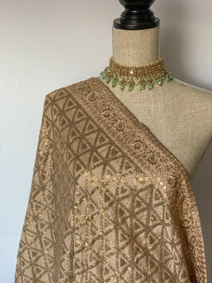 Shine in Sequins - Gold, Dupatta - THE KUNDAN SHOP