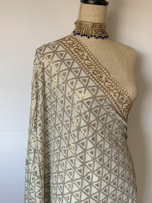 Shine in Sequins - White, Dupatta - THE KUNDAN SHOP