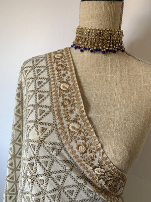 Shine in Sequins - White Dupatta THE KUNDAN SHOP