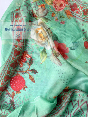 Silky Way - Green, Dupatta - THE KUNDAN SHOP