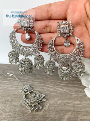 Radiance - Silver, Earrings + Tikka - THE KUNDAN SHOP