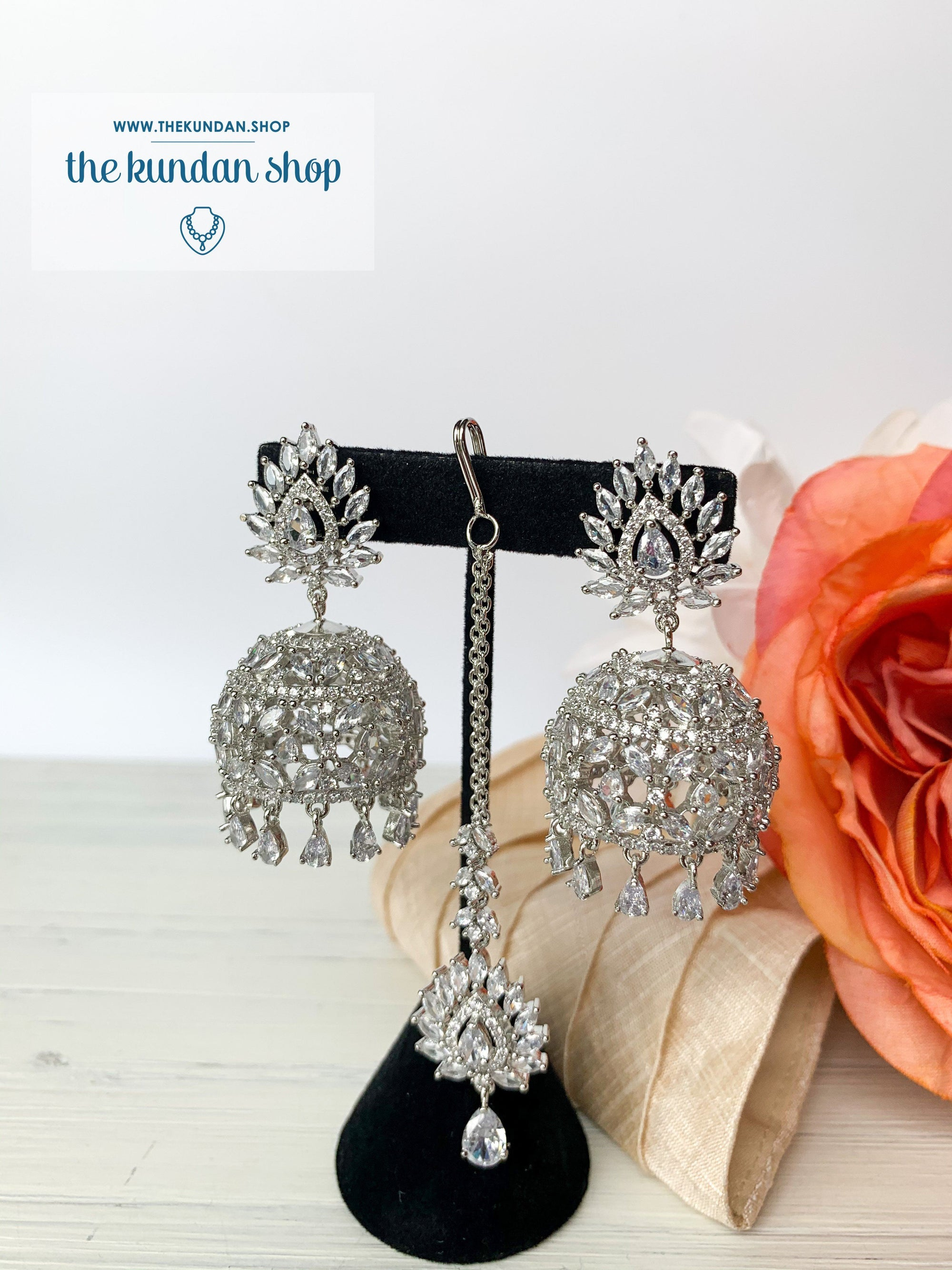 Ambiance in Silver, Earrings + Tikka - THE KUNDAN SHOP