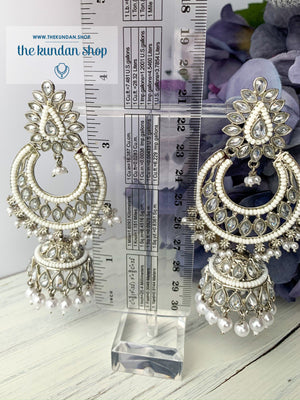 White Silver Earrings - Around in White, Earrings - THE KUNDAN SHOP