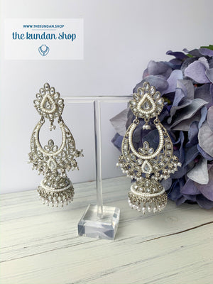 White Silver Earrings - Raindrop Petals, Earrings - THE KUNDAN SHOP