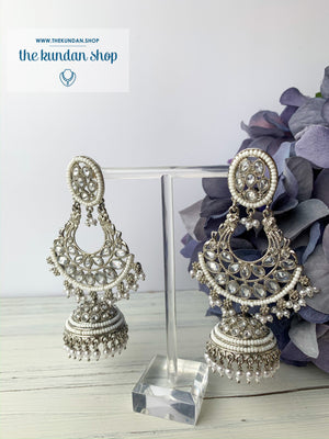 White Silver Earrings - Oval Top, Earrings - THE KUNDAN SHOP