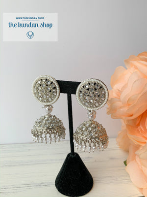 White Silver Earrings - Basic & Simple, Earrings - THE KUNDAN SHOP