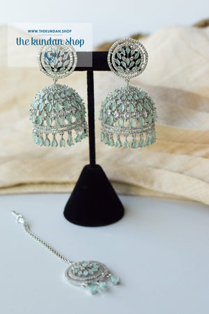 Allusive Jhumkis in Silver & Mint Earrings + Tikka THE KUNDAN SHOP