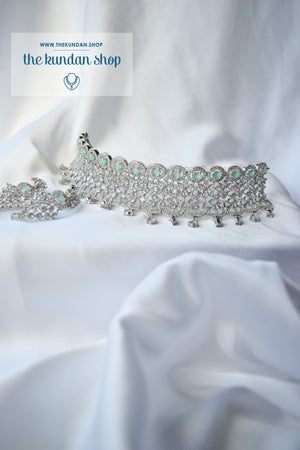 Incite in Silver & Mint Necklace Sets THE KUNDAN SHOP
