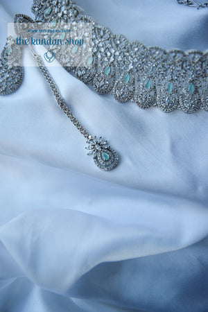 Sweet Talk in Silver & Mint Necklace Sets THE KUNDAN SHOP