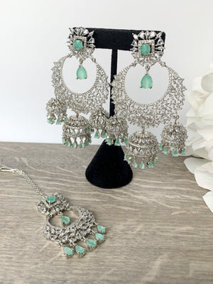 Radiance - Silver + Mint, Earrings + Tikka - THE KUNDAN SHOP