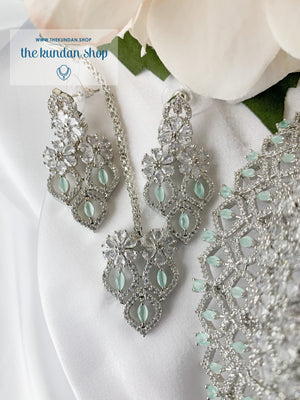 Wink in Silver & Mint Necklace Sets THE KUNDAN SHOP