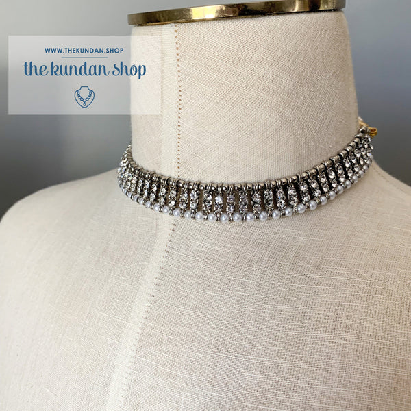 Grey & Silver choker, Necklace Sets - THE KUNDAN SHOP