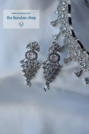 Incite in Silver & Pink Necklace Sets THE KUNDAN SHOP
