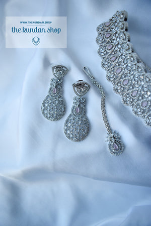 Sweet Talk in Silver & Pink Necklace Sets THE KUNDAN SHOP