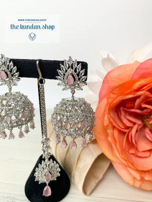 Ambiance in Silver + Pink, Earrings + Tikka - THE KUNDAN SHOP