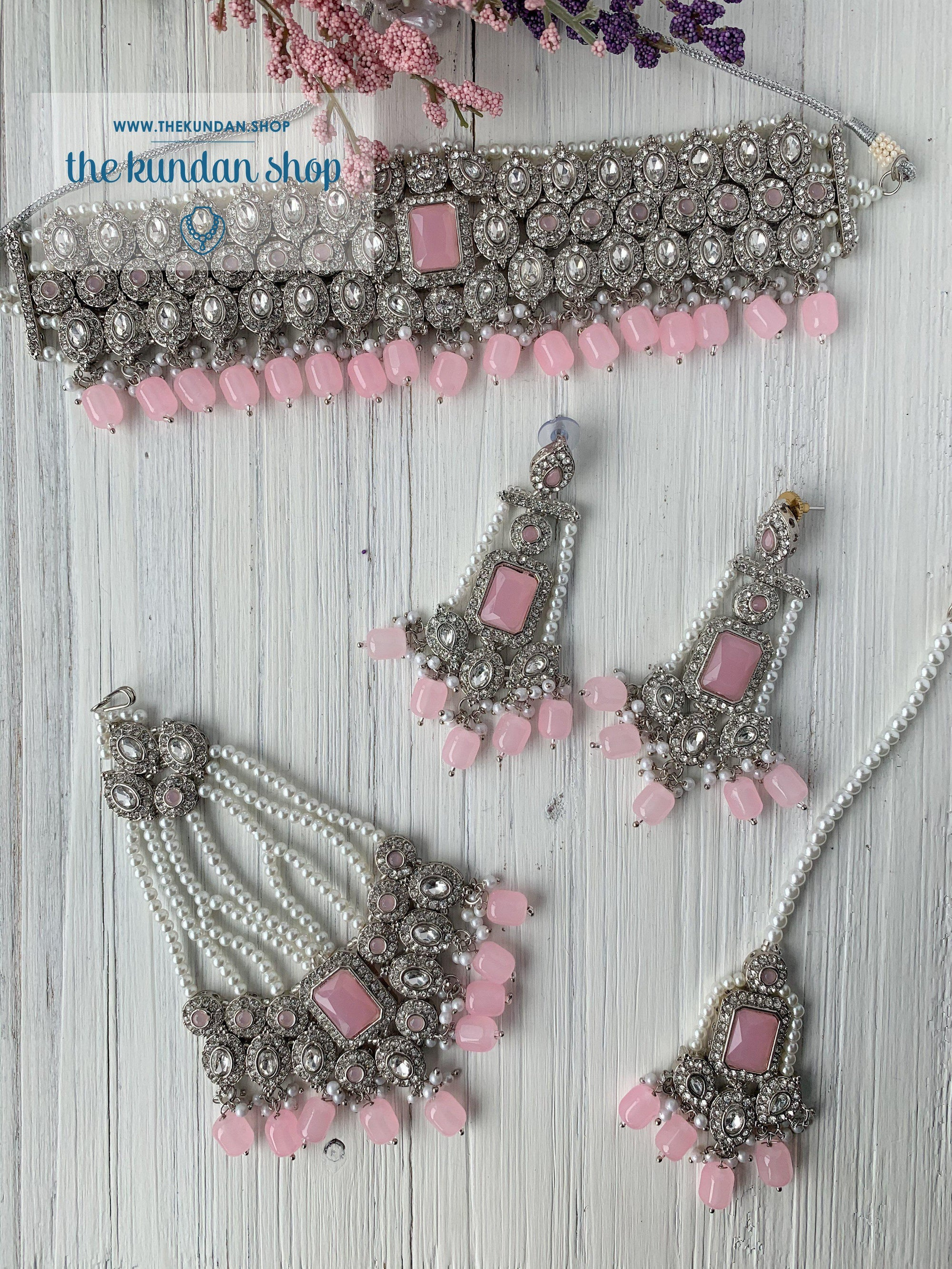Magnificent Drops in Pink & Silver Necklace Sets THE KUNDAN SHOP