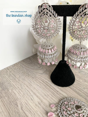 Reigning Queen in Silver + Pink Earrings + Tikka THE KUNDAN SHOP