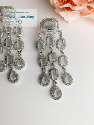 A Modern Twist in Silver Earrings THE KUNDAN SHOP Grey