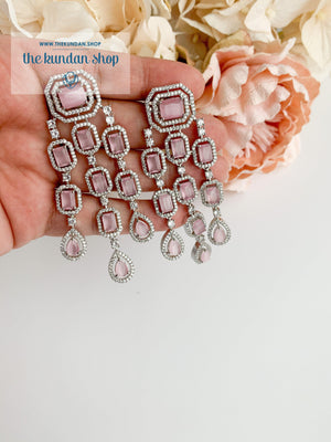 A Modern Twist in Silver Earrings THE KUNDAN SHOP Pink