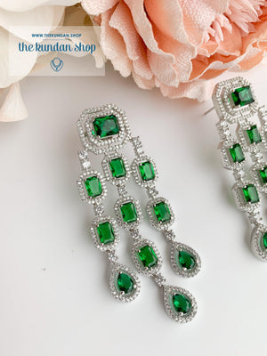 A Modern Twist in Silver Earrings THE KUNDAN SHOP Emerald