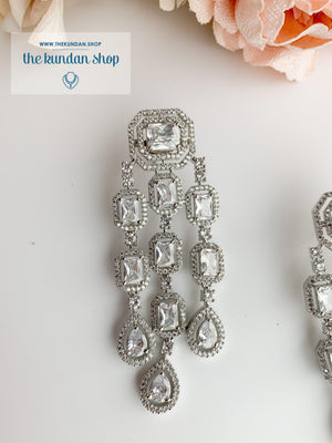 A Modern Twist in Silver Earrings THE KUNDAN SHOP Clear