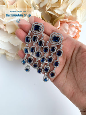 A Modern Twist in Silver Earrings THE KUNDAN SHOP Sapphire