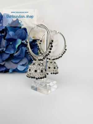 Twinkle Baalis in Silver Earrings THE KUNDAN SHOP Black