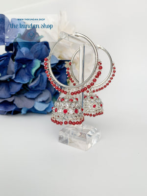 Twinkle Baalis in Silver Earrings THE KUNDAN SHOP Ruby