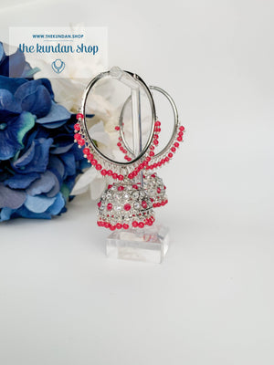 Twinkle Baalis in Silver Earrings THE KUNDAN SHOP Dark Pink