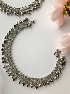 Shine in Silver Polki Anklets, Anklets - THE KUNDAN SHOP
