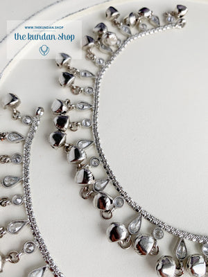 Dainty & Ghungroo Anklets - Silver Anklets THE KUNDAN SHOP