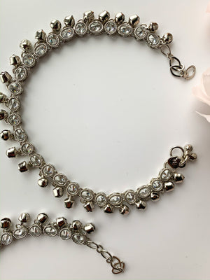 Plain & Silver Polki Anklets, Anklets - THE KUNDAN SHOP