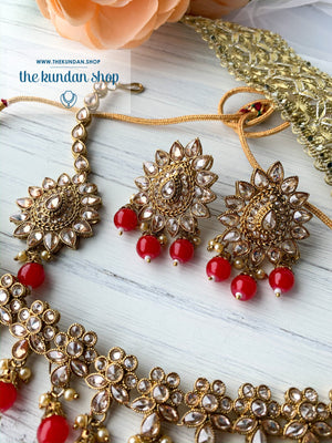 Simplicity - Red, Necklace Sets - THE KUNDAN SHOP