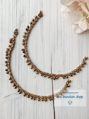 Single Layer Dainty & Polki Anklets Anklets THE KUNDAN SHOP
