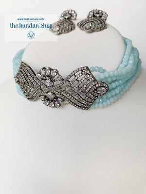 Lush in Sky Blue Necklace Sets THE KUNDAN SHOP