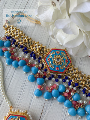 Ethereal in Sky Blue & Pink Necklace Sets THE KUNDAN SHOP