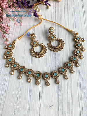 A Love of Polki in Light Blue Necklace Sets THE KUNDAN SHOP