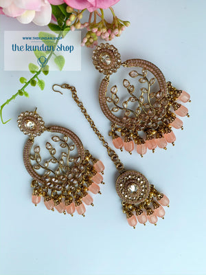 Smooth Move - Light Pink/Peach, Earrings + Tikka - THE KUNDAN SHOP