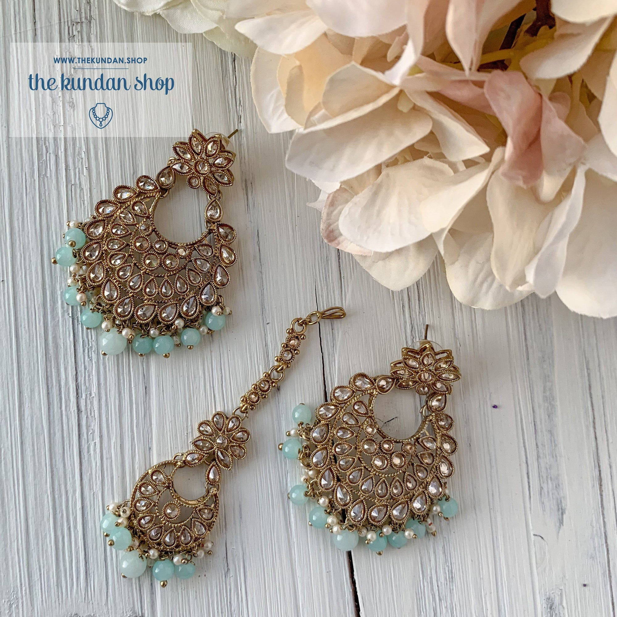 Spring Into Pastel - Mint Blue, Earrings + Tikka - THE KUNDAN SHOP