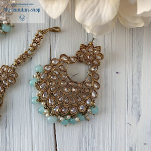 Spring Into Pastel - Mint Blue, Earring + Tikka - THE KUNDAN SHOP