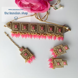 Right Angles in Bright Pink Necklace Sets THE KUNDAN SHOP