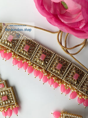 Right Angles in Bright Pink, Necklace Sets - THE KUNDAN SHOP