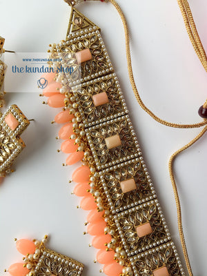 Right Angles in Peach, Necklace Sets - THE KUNDAN SHOP