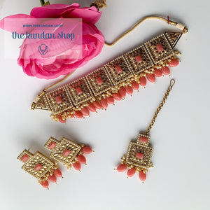 Right Angles in Strawberry Pink, Necklace Sets - THE KUNDAN SHOP