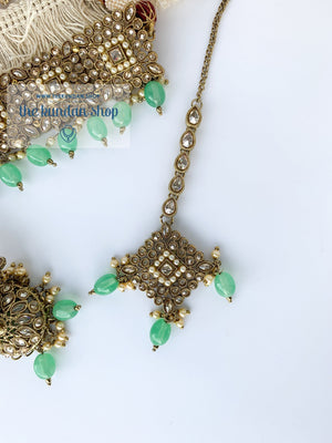 Chasing the Sunset - Mint, Necklace Set - THE KUNDAN SHOP